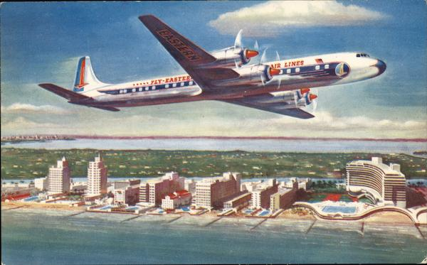 Eastern Air Lines Golden Falcon (DC-7B) Airline Advertising