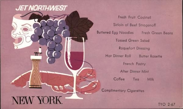 Jet Northwest Menu, Northwest Orient Airlines New York