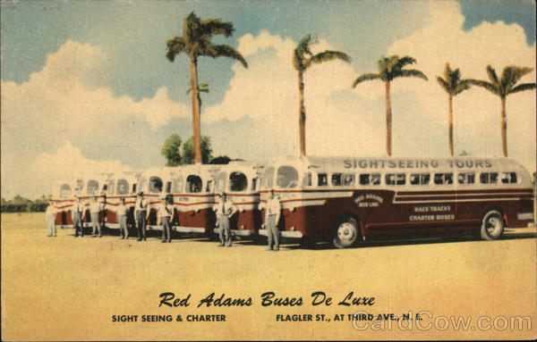Red Adams Sightseeing Buses Miami Florida Advertising