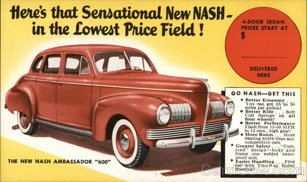 Nash Ambassador 600 Cars Advertising