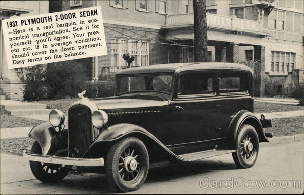 1932 Plymouth 2-Door Sedan Cars Advertising