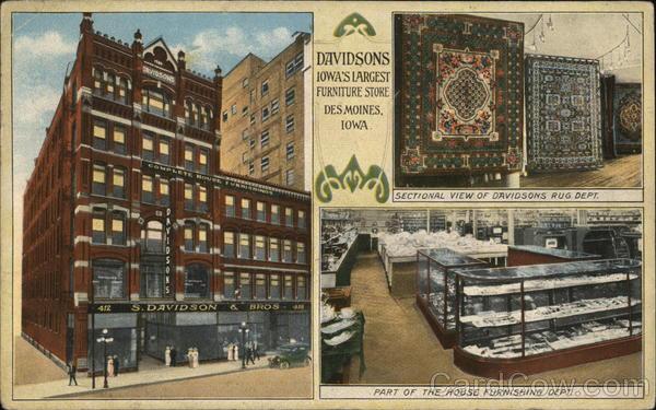 S Davidson Bros Furniture Store Des Moines Ia Postcard