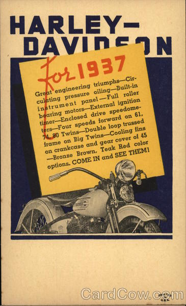 1937 Harley-Davidson Motorcycles Advertising