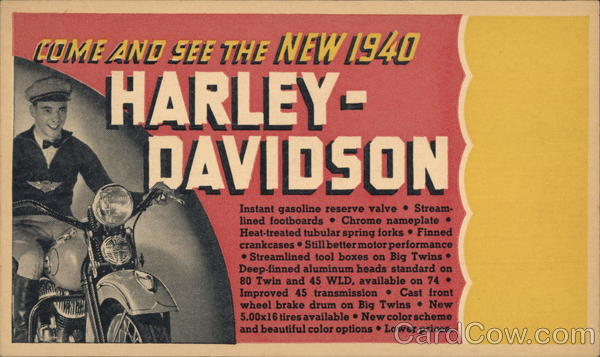 1940 Harley-Davidson Motorcycles Advertising