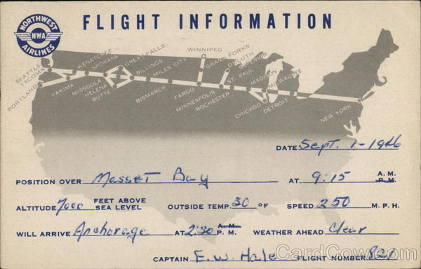 Northwest Airlines Flight Information Card Airline Advertising
