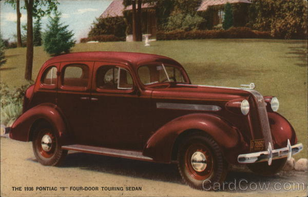 1936 Pontiac 8 Four-Door Touring Sedan Cars Advertising