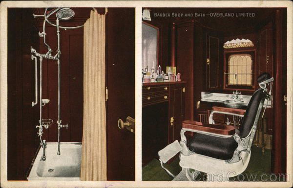 2 Views: Barber Shop and Bath - Overland Limited Trains, Railroad