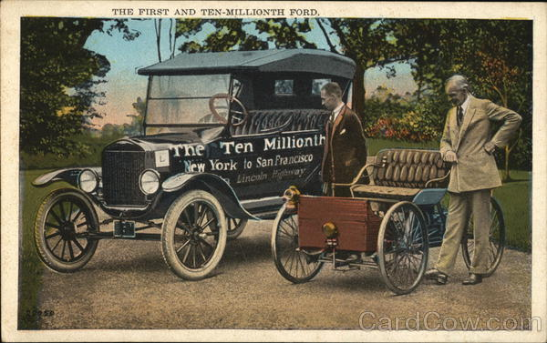The First and Ten Millionth Ford Cars Advertising