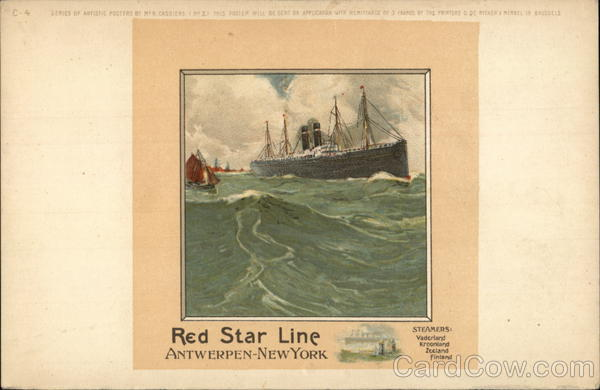 Red Star Line Antwerp to New York Advertising