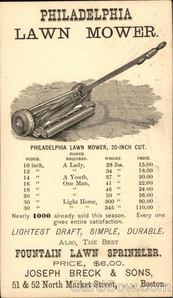 Philadelphia Lawn Mower, Joseph Breck & Sons Boston Massachusetts