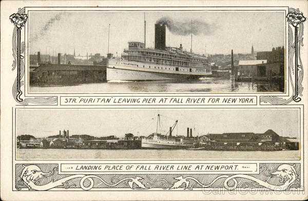 STR Puritan Leaving Pier at Fall River for New York