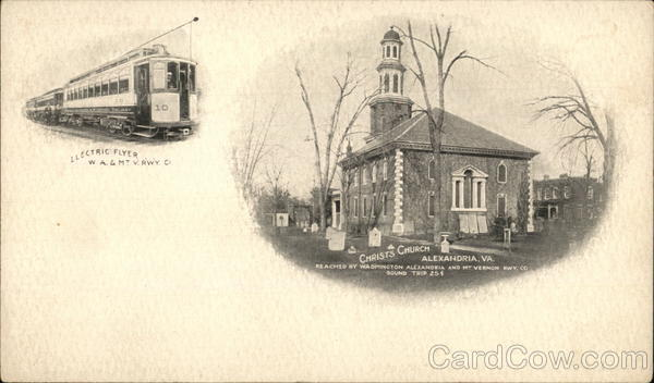 Christ's Church and Electric Flyer - Washington, Alexandria and Mt. Vernon Railway Virginia