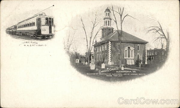 Christ's Church and Electric Flyer, Washington, Alexandria and Mt. Vernon Railway Virginia