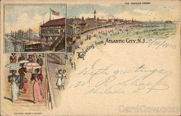 Boardwalk and Beach Atlantic City New Jersey Advertising