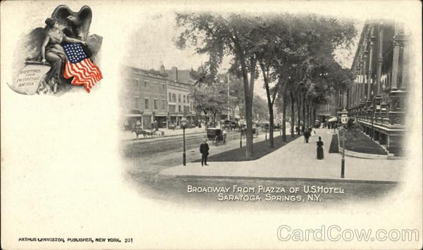 Broadway from Piazza of U.S. Hotel Saratoga Springs New York