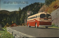Smoky Moutain trailway Bus on Highway Thru Great Smoky Mountains National Park