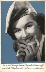 "One of the Pennsylvania-Central Airlines staff, voted the ""Loveliest Air Hostess in America"""