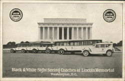 Black & White Sight Seeing Coaches at Lincoln Memorial
