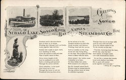 Sebago Lake, Songo River and Bay of Naples Steamboat Co. Postcard