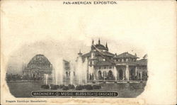 Machinery and Music Buildings from the Cascades Postcard