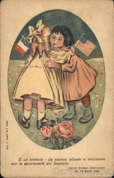 Two Girls With American and French Flags Patriotic