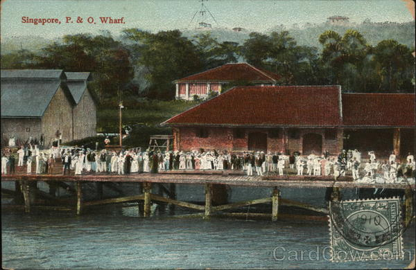 P. & O. Wharf Singapore Southeast Asia Cancelled on Front (COF)