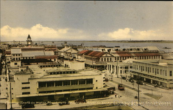 Looking South in Water Street with Demerara River in background. Georgetown, British Guiana Guyana