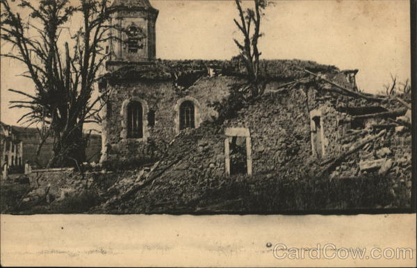 Ruiins of church. World War I