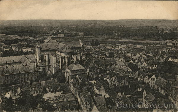 Aerial View of City Arras France World War I