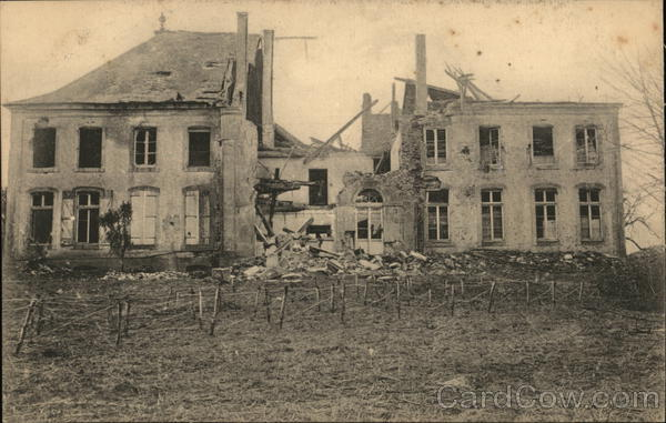 A badly damaged building Goussanville France World War I