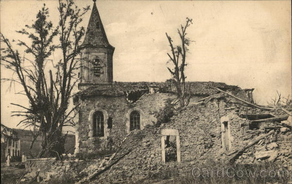A badly damaged building Bezonvaux France World War I