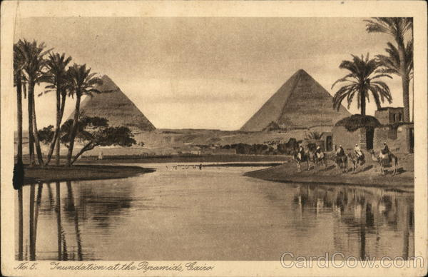 Pyramids and Nile Cairo Egypt Africa