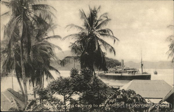 R. M. Steamen coming to an anchor, St. Georges, Grenada