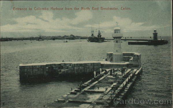 Entrance to Colombo Harbour from North East Breakwater Sri Lanka