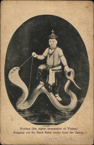 Krishna (the eighth incarnation on Vishnu) dragging out the fiend Kalia snake from the Jamma Japan