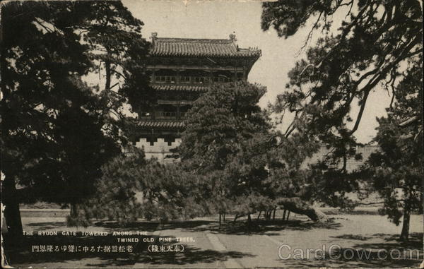 The Ryuon Gate towered among the twined old pine trees. Shenyang China