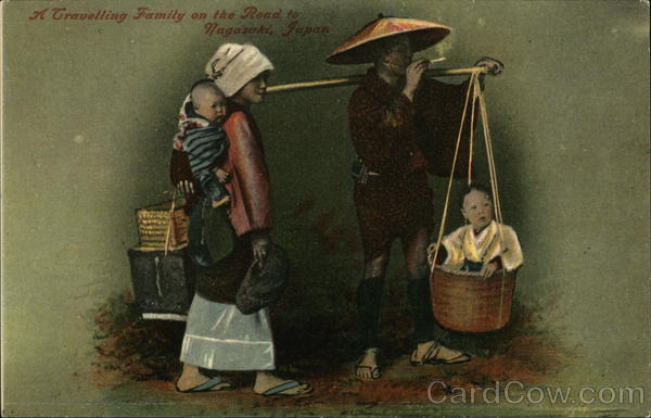 A Travelling Family on the road to Nagashaki, Japan