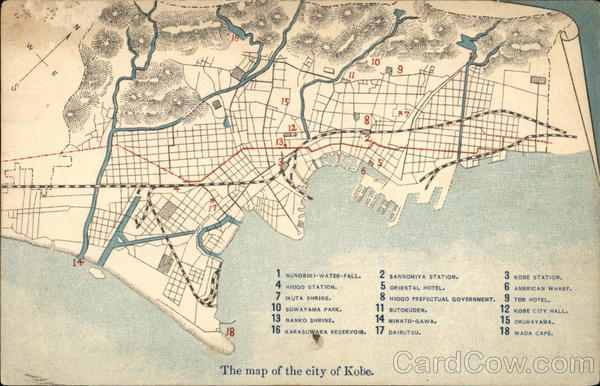 Map of the city of Kobe Japan