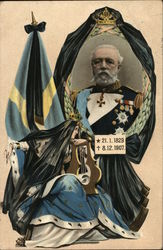 Mourning card for King Oscar II of Sweden