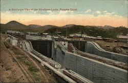 A Bird's-eye View of the Miraflores Locks. Panama Canal.