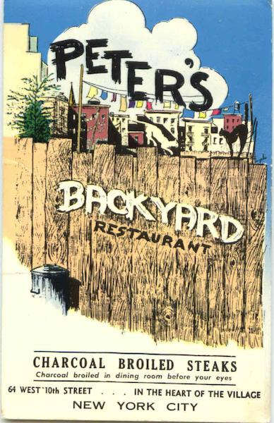 Peter's Backyard Restaurant, 64 West 10th St. New York City