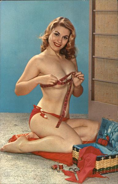 Will I Measure Up? Woman with Bikini Top Off Holding Measuring Tape