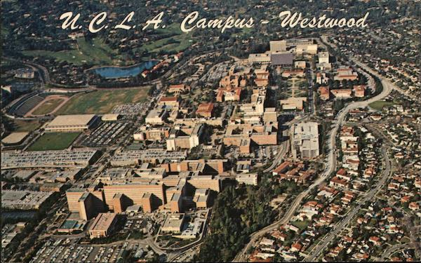 Aerial View of UCLA Campus, Westwood Los Angeles California