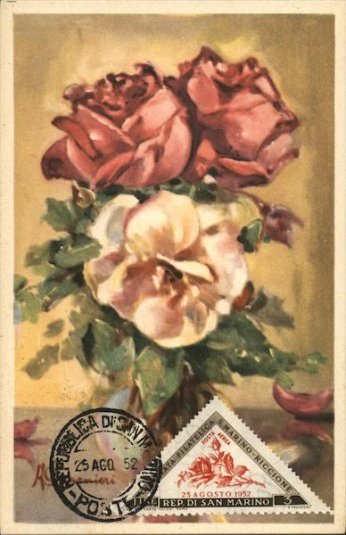 Painting of Bouquet of Roses San Marino Italy Maximum Cards