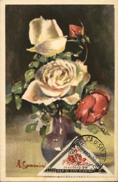 Rose Bouquet Painting San Marino Italy Maximum Cards