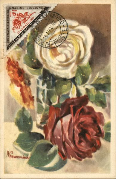 First Day Cover: Roses San Marino Italy Maximum Cards