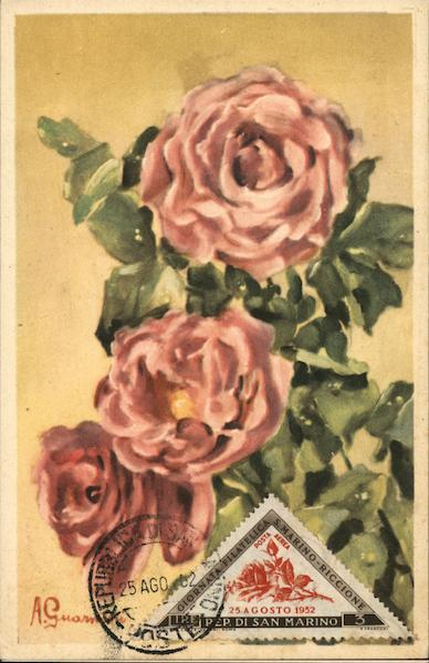 Painting of Roses by A. Guarmi d San Marino Italy Maximum Cards