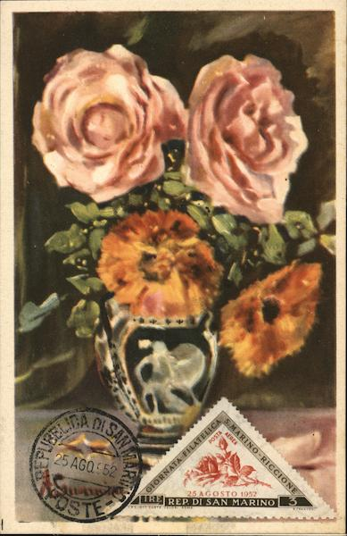 Painting of Roses San Marino Italy Maximum Cards