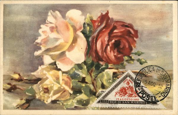 First Day Cover: Rose Painting San Marino Italy Maximum Cards
