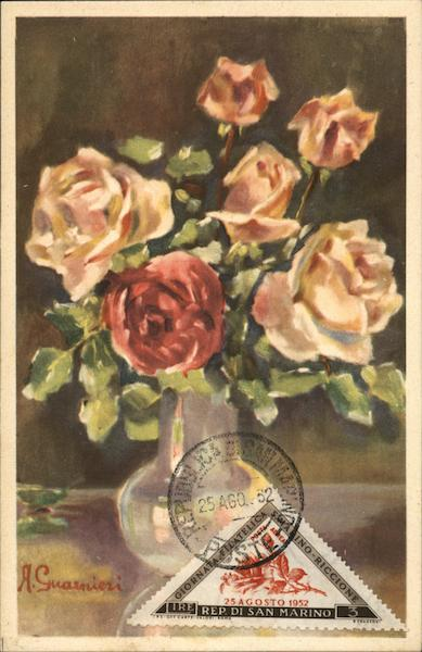 Bouquet of Roses Painting San Marino Italy Maximum Cards